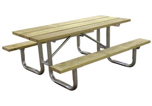 Wood Picnic Table Commercial Site Furnishings - Tubular picnic table frame