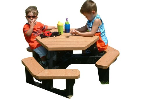 Kids Open Hexagon Recycled Plastic Table Commercial Site Furnishings - Recycled plastic hexagonal picnic table