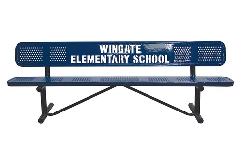 10' Custom Perforated Metal Logo Bench
