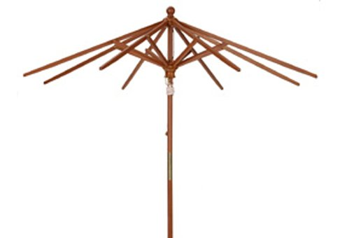 9 Ft Sunbrella Pacific Blue Wood Market Umbrella