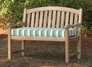 teak bench with custom outdoor bench cushion