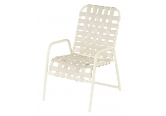 Country Club Cross Weave Strap Dining Arm Chair