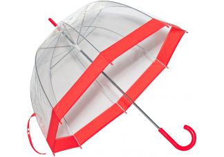 Clear Bubble Umbrella - Red Trim