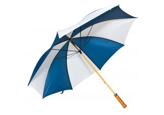 Wooden Shaft Golf Umbrella-Navy Blue and White