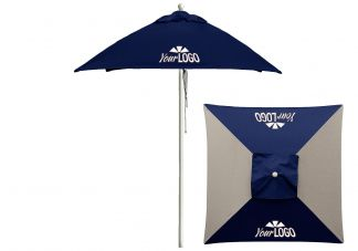 6.5 Square Wood Logo Umbrella