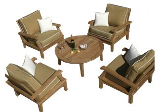 5-Piece Miami Deep Seating Teak Set