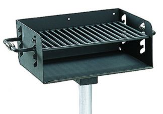 "Commercial Park 3-1/2"" Rotating Pedestal Grill with Post- In Ground, Black"
