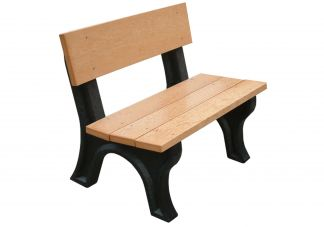 Polly Products Landmark 4 ft.Backed Bench in Black/Black
