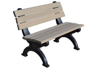 Polly Products Silhouette 4 ft. Backed Bench in Black/Black