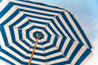 Blue and White Stripe Beach Umbrella
