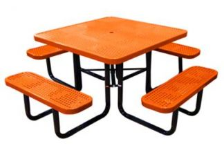 square perforated metal picnic table
