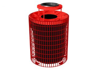 32-Gallon Welded Wire Trash Can with Liner & Lid