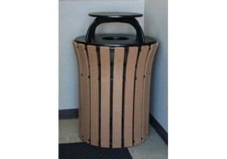33-gallon Recycled Plastic Flare Top Trash Can with Rain Cap