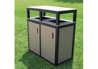32 Gallon Square Trash Receptacle - 2-tone - Double
