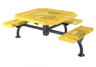 46-inch Octagon Roll Web Surface MountTable with Three Seats