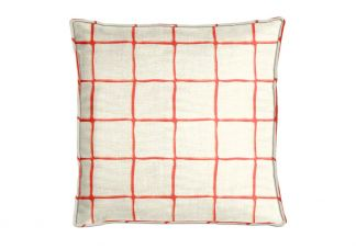 Robert Allen Painted Check Poppy Pillow
