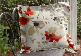 Highland Taylor Watercolor Poppy Throw Pillow with Flange