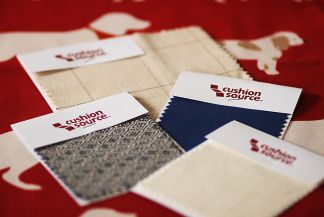 Red throw pillow fabric swatches from Cushion Source