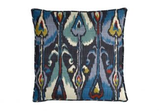 Robert Allen Ikat Bands Indigo Pillow