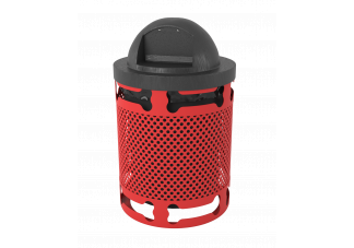 Perforated Metal Dog Park Trash Can with Dog Bone Cutout