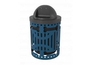 Steel Slat Dog Park Trash Can with Dog Bone Cutout