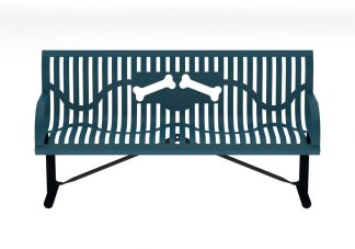 6 ft. Portable Classic Wingline Dog Park Bone Bench with Back