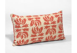 Robert Allen Flowing Petal Coral Reef and Sunbrella Echo Sangria Amalfi Throw Pillow