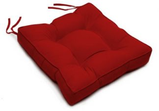 Tufted Chair Cushion in Sunbrella Canvas Jockey Red