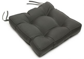 Tufted Chair Cushion in Sunbrella Canvas Charcoal