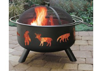 Big Sky Firepit w/ Wildlife Design, Black