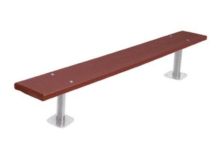 Commercial Park 6 Recycled Plastic Bench w/o Back- Surface Mount, Brown