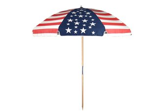 7.5 American Flag Wood Beach Umbrella
