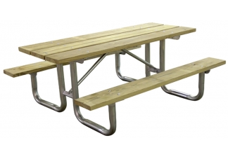 wood picnic table, steel picnic table