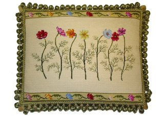 Anemones Flower Needlepoint Pillow