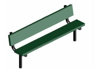 4 ft. Plasti Plank Inground Mount Bench w/ Back