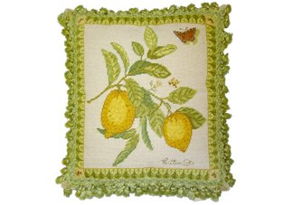 Butterfly and Lemons Needlepoint Pillow