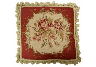 Dark Red Roses Needlepoint Pillow