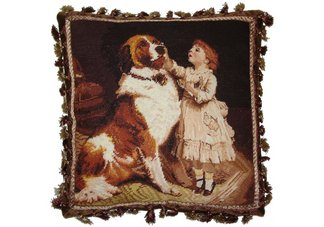 Saint Bernard Dog and Girl Needlepoint Pillow