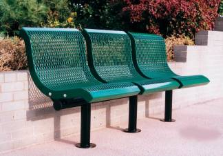 3 seat contour metal benches