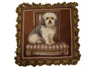 Elegant Terrier Needlepoint Pillow