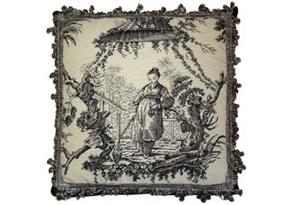Black and White Oriental Fishwife Needlepoint Pillow