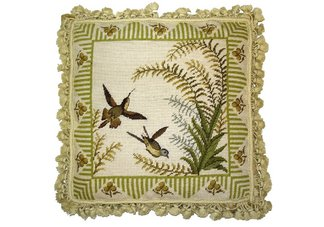Two Hummingbirds with Fern Needlepoint Pillow