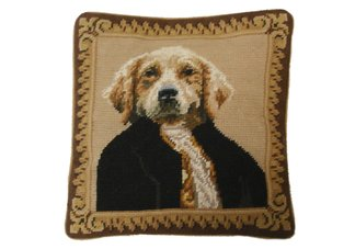 Mr Dog Needlepoint Pillow
