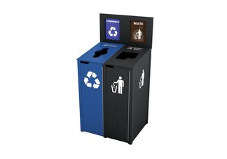 Recycled Plastic Double 22 Gallon Recycling Station