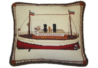 Ocean Liner Needlepoint Pillow