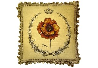 Pansie and Garland Needlepoint Pillow