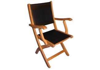 Teak Providence Chair with Batyline Black