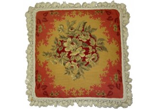 Red Flower Needlepoint Pillow
