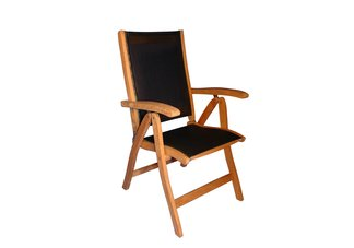 Teak Recliner sling fabric black