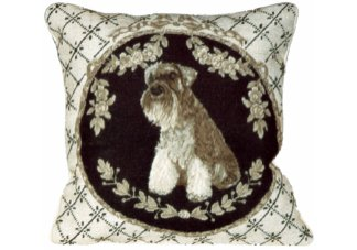 Schnauzer Needlepoint Pillow